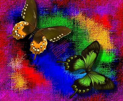 Abstract Metamorphose Photograph - Butterflies On Abstract Valentine by L Brown