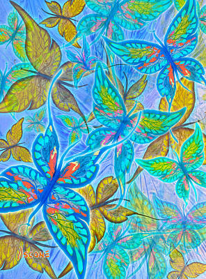 Art Print featuring the mixed media Butterflies On Blue by Teresa Ascone