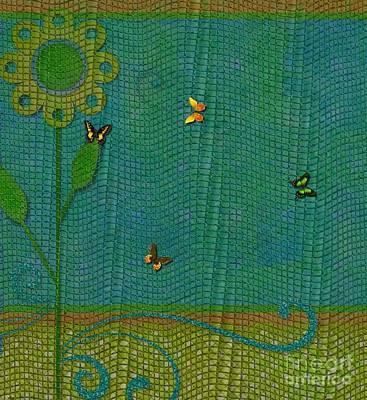 Digital Art - Butterflies On Mesh Net - Floral Design by Liane Wright