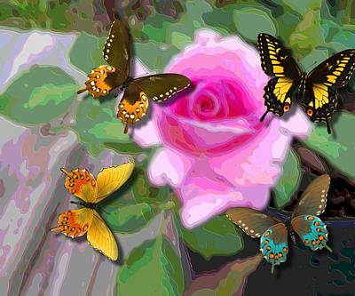 Butterflies On Pink Potted Rose Upsized  Art Print by L Brown