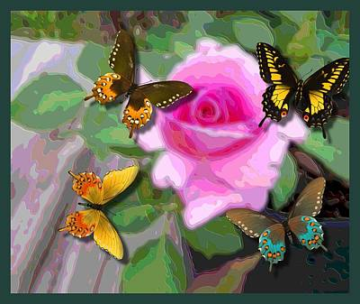Butterflies On Pink Potted Rose Small Teal Border Upsized Art Print by L Brown