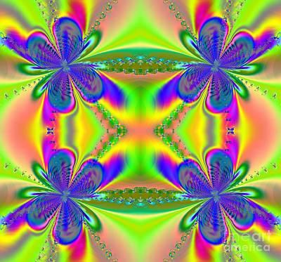 Digital Art - Butterflies Welcoming Spring Fractal by Rose Santuci-Sofranko