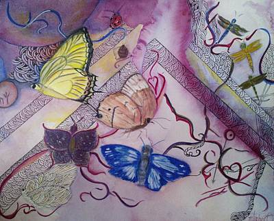 Mixed Media - Butterflies With Dragonflies by Marian Hebert