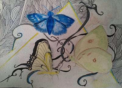 Mixed Media - Butterfly And Chevron by Marian Hebert