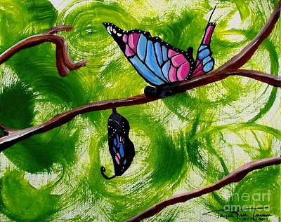 Painting - Butterfly And Cocoon by Jayne Kerr