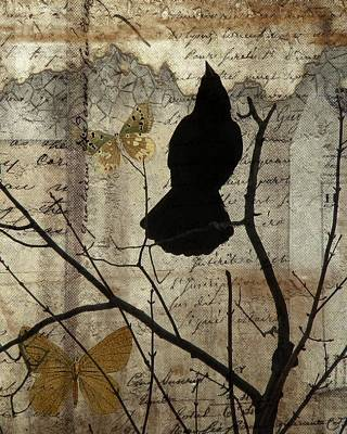 Butterfly And Crow Collage Art Print
