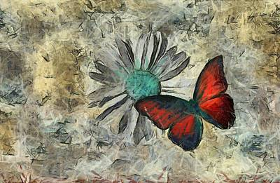 Butterfly And Daisy - Ftd01t01 Print by Variance Collections
