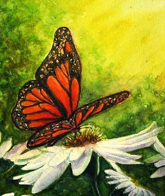 Painting - Butterfly And Daisy by Hazel Holland