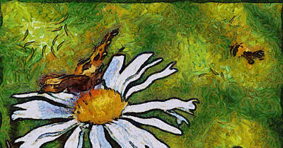 Art Print featuring the painting Butterfly And Flower by Georgi Dimitrov