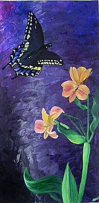 Diane Peters Painting - Butterfly And Flowers by Diane Peters