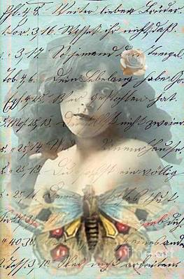 Butterfly And Rose Art Print by Desiree Paquette