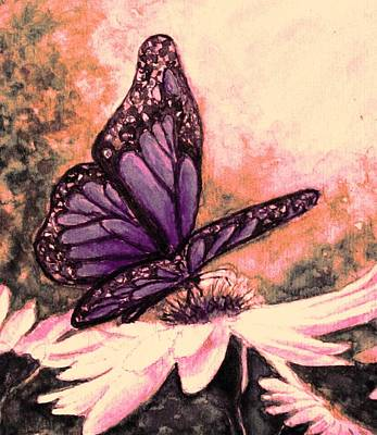 Painting - Butterfly At Sunset by Hazel Holland