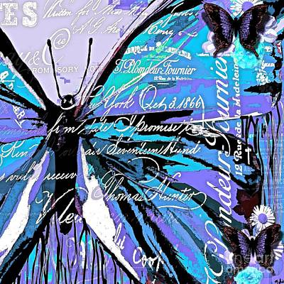 Painting - Butterfly Blue And Purple Abstract by Saundra Myles