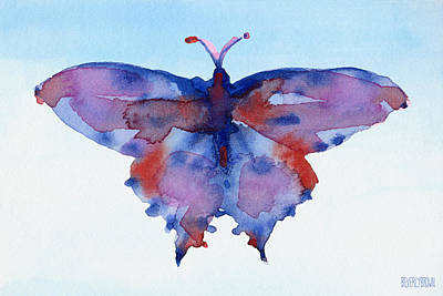 Butterfly Blue And Red Watercolor Painting Art Print by Beverly Brown