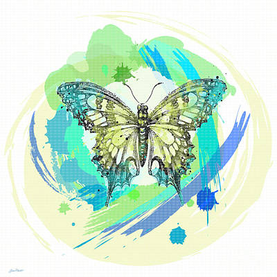 Digital Watercolor Painting - Butterfly Circles-jp2377 by Jean Plout