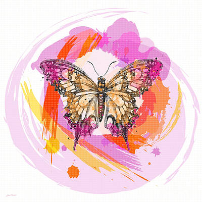 Digital Watercolor Painting - Butterfly Circles-jp2378 by Jean Plout