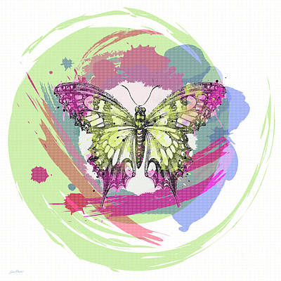 Digital Watercolor Painting - Butterfly Circles-jp2379 by Jean Plout