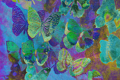 Digital Art - Butterfly Collage In Blue by Ann Powell
