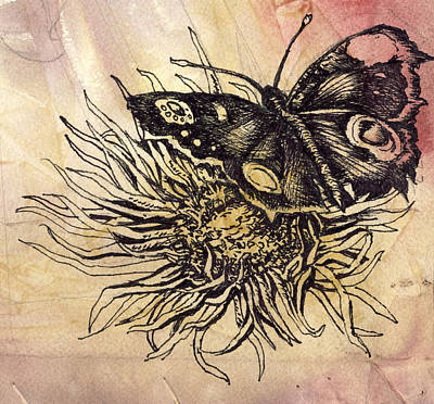 Art Mobile Mixed Media - Butterfly Drawing by Alfred Ng