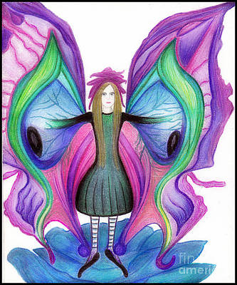 Drawing - Butterfly Fairy by Angie Staft