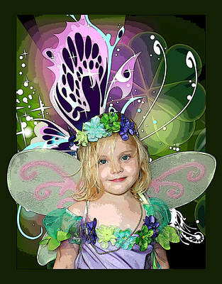 Flower Pink Fairy Child Mixed Media - Butterfly Fairy by Ellen Henneke