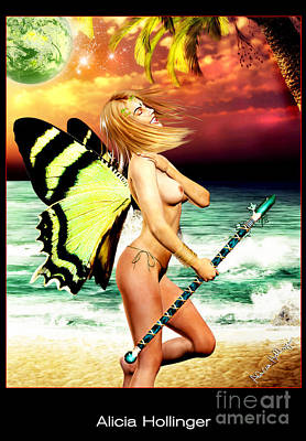 Topless Mixed Media - Butterfly Fairy On The Beach Topless by Alicia Hollinger