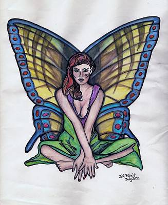 Drawing - Butterfly Fairy Sitting by Jan Wendt