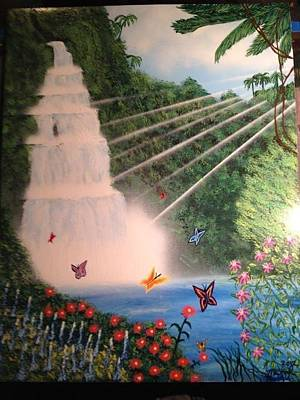 Art Print featuring the painting Butterfly Falls by Michael Rucker