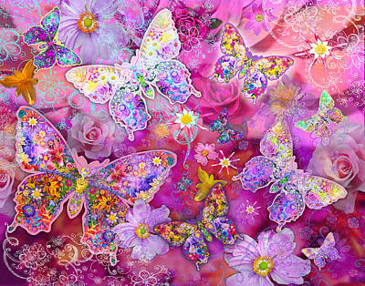 Coloured Photograph - Butterfly Flower Land by Alixandra Mullins