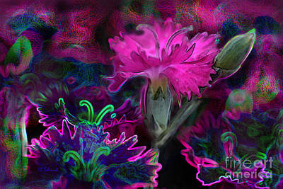 Digital Art - Butterfly Garden 08 - Carnations by E B Schmidt