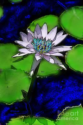 Art Print featuring the digital art Butterfly Garden 10 - Water Lily by E B Schmidt