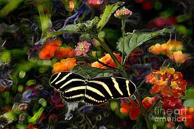 Art Print featuring the digital art Butterfly Garden 14 - Zebra Heliconian by E B Schmidt