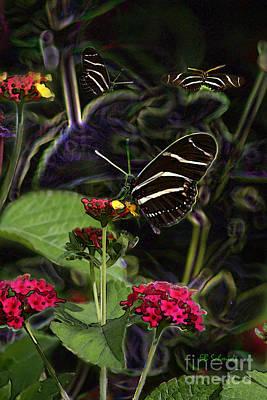 Art Print featuring the digital art Butterfly Garden 19 - Zebra Heliconian by E B Schmidt