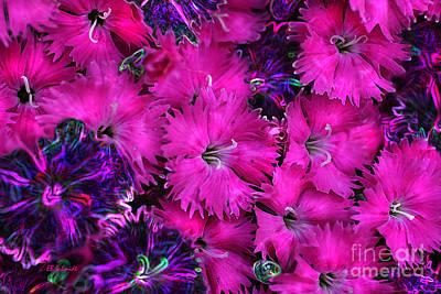 Art Print featuring the digital art Butterfly Garden 23 - Carnations by E B Schmidt