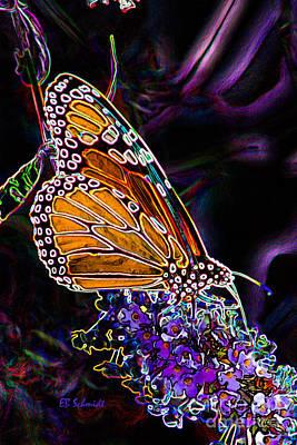 Art Print featuring the digital art Butterfly Garden 24 - Monarch by E B Schmidt