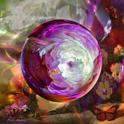 Round Digital Art - Butterfly Garden Globe by Robin Moline
