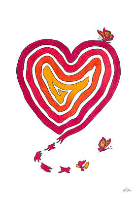 Sweet Kiss Drawing - Butterfly Heart by Andreas Berthold