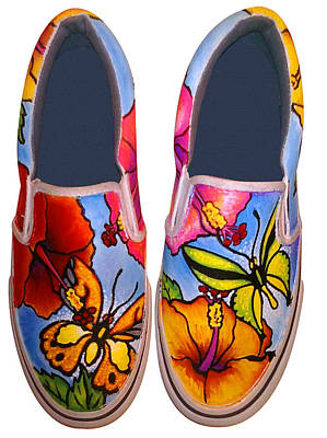 Painting - Butterfly Hibiscus Custom Painted Shoes by Adam Johnson