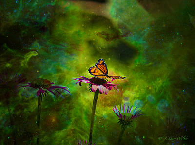 Print featuring the digital art Butterfly In An Ethereal World by J Larry Walker
