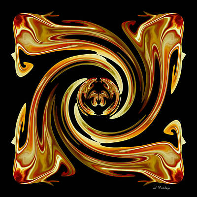 Digital Art - Butterfly In The Center by rd Erickson