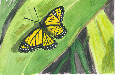 Art Print featuring the painting Butterfly In Vermont Corn Field by Donna Walsh