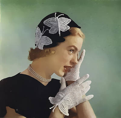 Photograph - Butterfly Lady 1950's by Beth Sawickie