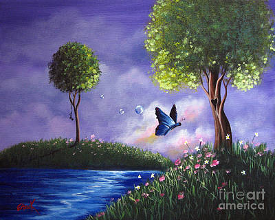 Floating Girl Painting - Butterfly Lake By Shawna Erback by Shawna Erback