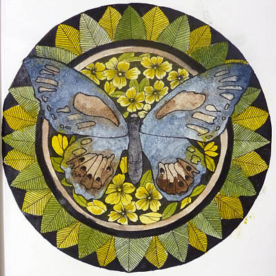 Mixed Media Royalty Free Images - Butterfly Mandala Royalty-Free Image by Petra Stephens
