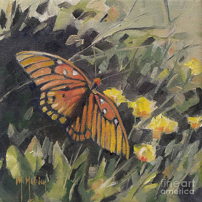 Florida Painting - Butterfly Meadow With Yellow Flowers by Mary Hubley