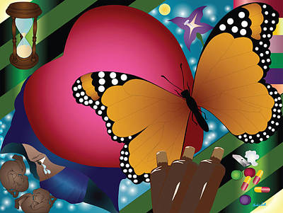 Charles Smith Painting - Butterfly Monk by Charles Smith