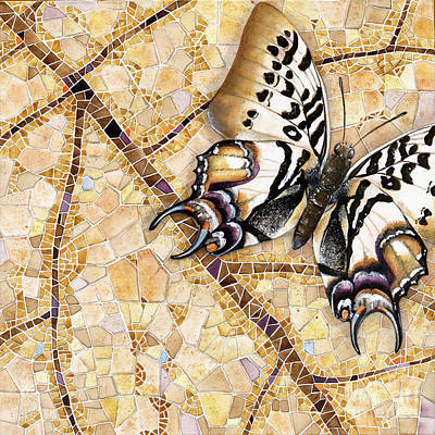 Art Print featuring the painting Butterfly Mosaic 01 Elena Yakubovich by Elena Yakubovich