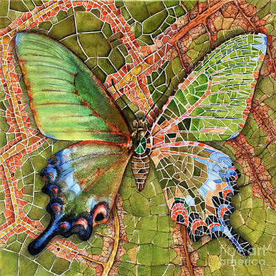 Art Print featuring the painting Butterfly Mosaic 03 Elena Yakubovich by Elena Yakubovich