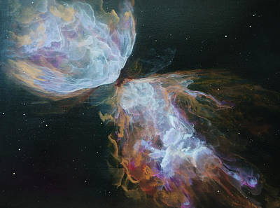 Cosmos Painting - Butterfly Nebula by Emily Magone