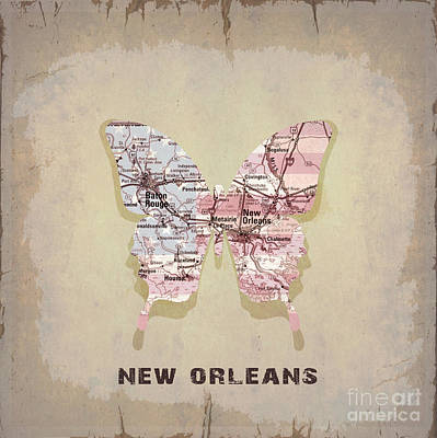 Vintage Map Digital Art - Butterfly New Orleans by Steffi Louis